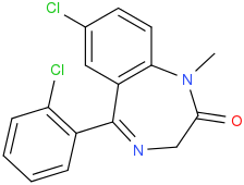 File:7-chloro-5-(2-chlorophenyl)-1-methyl-1,3-dihydro-2H-1,4-benzodiazepin-2-one.png