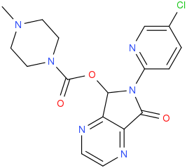 (RS)-6-(5-chloropyridin-2-yl)-7-oxo-6,7-dihydro-5H-pyrrolo-3,4-b-pyrazin-5-yl 4-methylpiperazine-1-carboxylate.png